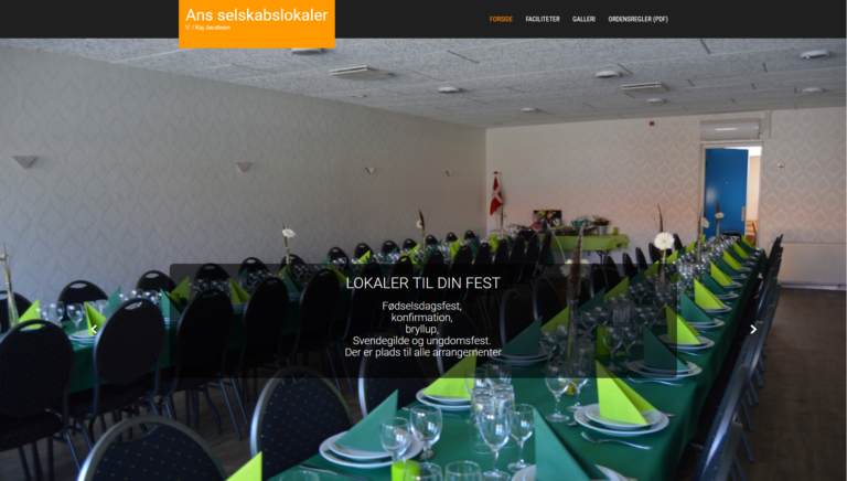 Webdesign for Ans selskabslokaler