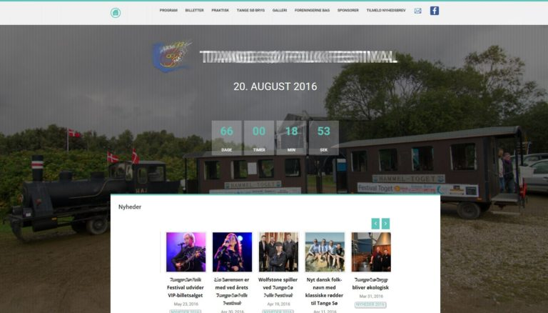 Webdesign for Tange Sø Folk Festival